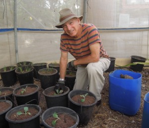 mike with seedlings